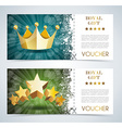 Voucher premium template with gold crown and gold vector image vector image