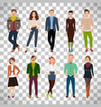 young fashion people on transparent background vector image vector image