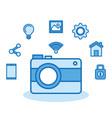 camera photo wifi technology app vector image