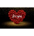 golden luxury elegant two hearts love glitter vector image