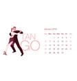 2019 dance calendar january elegant couple vector image