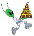 alien with cake vector image vector image