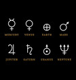 astronomical symbols of eight planets vector image