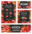 barbecue meat and butchery shop food in frames vector image