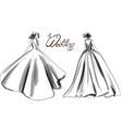 bride silhouette line art beautiful long vector image