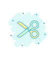 cartoon scissors icon in comic style scissor sign vector image