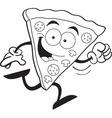 Cartoon slice of pizza running vector image vector image