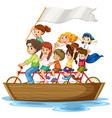 Children on boat vector image