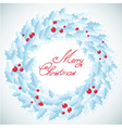 Christmas traditional wreath with holly berries vector image vector image