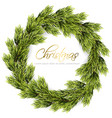 christmas wreath frame green fir branches vector image