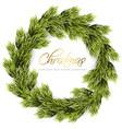 christmas wreath frame green fir branches vector image