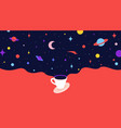 coffee cup with universe dreams modern flat vector image vector image