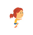 cute sportive girl squatting kids physical vector image vector image