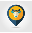 Deer flat pin map icon Animal head vector image vector image