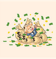 dog cub in business suit lies on bags money vector image vector image