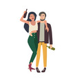 drunk couple hugging young girl and guy tipsy vector image vector image