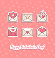 envelopes with hearts inside vector image
