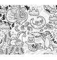 fantastic creatures animal pattern in outline vector image