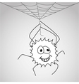 Funny little spider hangs on the web vector image vector image