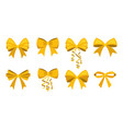 gold bow set vector image vector image