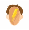 Head with a lightning icon cartoon style vector image vector image