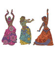 indian dancers on white background vector image vector image