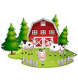 isolated farm scene with cow vector image vector image
