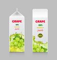juice drink carton pack with white sweet grape vector image