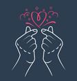 korea finger heart vector image vector image