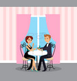 man and woman on date at restaurant proposal vector image vector image