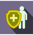 Medical shield icon flat style vector image vector image