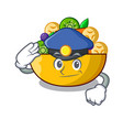 police fruit salad in glass bowl cartoon vector image vector image