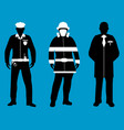 policeman doctor fireman flat icons service 911 vector image vector image