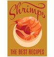 retro poster with shrimp for restaurants vector image vector image