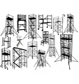 Scaffolding silhouettes vector image