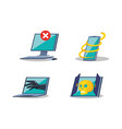set gadget with icons cyber security vector image vector image