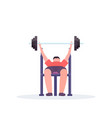 sporty man lying on bench lifting barbell with vector image