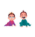 toddler babies boy and girl in rompers isolated vector image