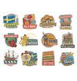 travel to sweden icons swedish landmarks vector image