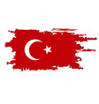 turkey flag painted by brush hand paints turkish vector image