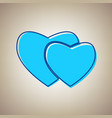 two hearts sign sky blue icon with vector image vector image