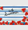 watermelon on wood background summer banner vector image vector image