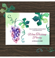 Wine tasting party card design with watercolor vector image