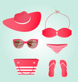 women beach collection swimsuit glasses hat bag vector image