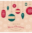Christmas tree toys on snowflakes backdrop vector image