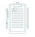 contour clipboard folder with blank white sheet of vector image