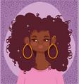 african american girl portrait cartoon curly hair vector image vector image