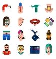 Bodyart Tattoo Piercing Icons Set vector image vector image