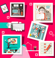 Business Screens with Technology Icons and People vector image vector image