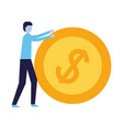 businessman holding dollar coin money vector image vector image